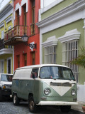 Old Volkswagen Combi Outside Colourful Colonial Houses in Old San Juan Photographic Print by Rachel Lewis