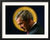 President Bush Speaks About Columbus Day at the Eisenhower Executive Office Building Framed Photographic Print