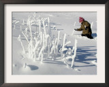 A Young Boy Wades Through the Deep Snow Framed Photographic Print by Christof Stache