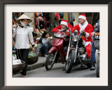 Vietnamese Men Dressed as Santa Claus Wait on their Motorbikes on a Street in Hanoi, Vietnam Framed Photographic Print