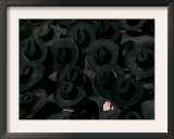 Ultra Orthodox Jewish Men Look on as They Watch the Burial of Prominent Jewish Rabbi Shlomo Wolbe Framed Photographic Print