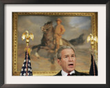 President Bush Delivers His Live Radio Address in the Roosevelt Room at the White House Framed Photographic Print