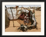 Two Sudanese Women Sit at a Make Shift Hut Framed Photographic Print