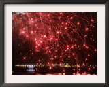 Fireworks Explode over the Olympic Rings During the Opening Ceremony of the Vancouver 2010 Olympics Framed Photographic Print