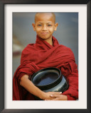 Young Myanmar Buddhist Monk Smiles Broadly as He Waits for Donations Early on a Yangon Street Framed Photographic Print