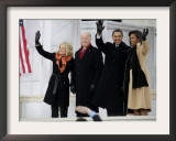 Barack Obama, Joe Biden and Their Wives Wave During the Inaugural Celebration at Lincoln Memorial Framed Photographic Print