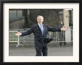 President Bush Departs in the Rain at Boeing Field in Seattle Framed Photographic Print