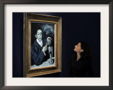 "Giovanna Bertazzoni Poses for Photographers in Front of 1903 Pablo Picasso's ""The Absinthe Drinker"" Framed Photographic Print"