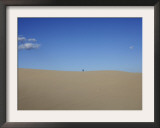 Man Looks at the Desert Landscape in Samalayuca, South from Ciudad Juarez, Mexico Framed Photographic Print