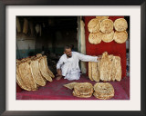Baker Arranges Breads at His Shop in Kandahar Province, South of Kabul, Afghanistan Framed Photographic Print