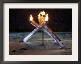 Olympic Flame During the Opening Ceremony for the Vancouver 2010 Olympics Framed Photographic Print