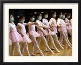 Children Learning Ballet Lessons Wear Masks Framed Photographic Print
