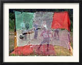 A Soccer Ball Slips Through an Opening of a Makeshift Goal Framed Photographic Print