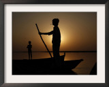 Boatman Prepares to Anchor His Boat, after the Day's Work in River Ganges, in Allahabad, India Framed Photographic Print