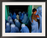 Afghan Women Wearing Burqas Listen to a Speech by Presidential Candidate Massooda Jalal Framed Photographic Print