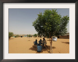 Guard from the Sudanese Liberation Movement and Sudanese Policemen Outside a Polling Station Framed Photographic Print