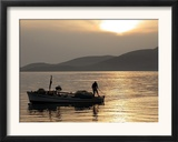 Lone Fisherman Casts His Net at Twilight off the Adriatic Coast Framed Photographic Print