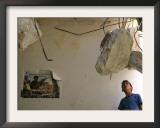 A Palestinian Boy Looks Inside the Damaged House of Militants Moatasm Sharaidi and Elias Ashkar Framed Photographic Print