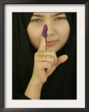 Young Girl Shows Her Inked Finger, Even Though She Was Too Young to Vote, in Karbala, Iraq Framed Photographic Print