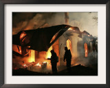 Firefighters Extinguish a Fire in the Farmer's Palace, Outside St. Petersburg, Russia Framed Photographic Print