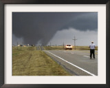Driver Slows as a Tornado Crosses the Highway in Beaver County, Oklahoma Framed Photographic Print