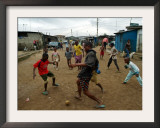 Children Play Soccer in an Impoverished Street in Lagos, Nigeria Framed Photographic Print