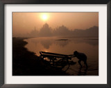 A Vegetable Vendor Pushes His Hand Cart Framed Photographic Print