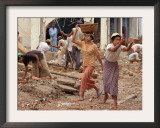 Burmese Women Hauling Rocks and Bricks Labor on a Construction Site Framed Photographic Print