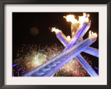 Olympic Flame Burns after the Opening Ceremony of the Vancouver 2010 Olympics Framed Photographic Print