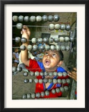 Boy, 3, Counts on an Abacus at a School in Allahabad Framed Photographic Print