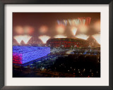 Beijing Olympics Opening Ceremony, Bird's Nest and Water Cube, Beijing, China Framed Photographic Print