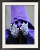 "Penitent Participates in the Procession of the ''Nuestro Padre Jesus Nazareno El Pobre"" Brotherhood Framed Photographic Print"