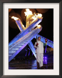 Wayne Gretzky Lights the Olympic Flame During the Opening Ceremony of 2010 Vancouver Winter Games Framed Photographic Print