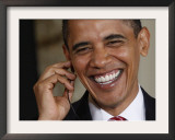 President Barack Obama Smiles as He Participates in a Joint News Conference in the White House Framed Photographic Print