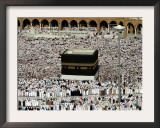 Muslim Pilgrims Performing the Hajj, at the Afternoon Prayers Inside the Grand Mosque, Mecca Framed Photographic Print