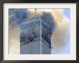 Fire and Smoke Billows from the North Tower of New York's World Trade Center September 11, 2001 Framed Photographic Print