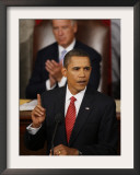 President Barack Obama Gestures While Delivering Speech on Healthcare to Joint Session of Congress Framed Photographic Print
