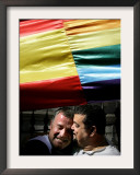 Supporters of Gay Marriage Hug Under a Multi-Coloured Flag Outside the Spanish Parliament Framed Photographic Print