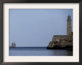 US-Flagged Vessel Amistad Nears the Port of Havana as it Passes the Morro Castle Framed Photographic Print