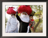 Kashmiri Women Carry on Their Heads Relief Goods Framed Photographic Print