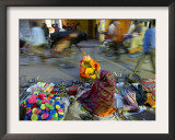 Indian Holy Man Shops for Tools on the Street in Front of an Old Delhi Market Framed Photographic Print