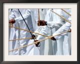 Emirates Men Perform the Al Ayyaleh Traditional Dance Framed Photographic Print