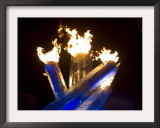 olympic flame burns after