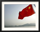 A Chinese Flag Flutters Framed Photographic Print