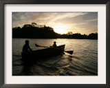 Two Children Sail in the Cocibolca Lake, Managua, Nicaragua Framed Photographic Print by Esteban Felix