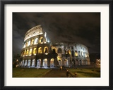 The Ancient Colosseum is Lit up for the Occasion of the Day for the Abolition of the Death Penalty Framed Photographic Print