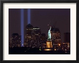 Two Light Beams Illuminate the Sky Framed Photographic Print