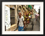 A Rickshaw Puller Carries Supporters of Brazil Soccer Team Framed Photographic Print