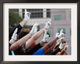 Single Gloved Hands Celebrating Michael Jackson's Life and Tribute to His Death, UCLA Framed Photographic Print