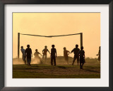 Children from the Toba Qom Ethnic Group Play Soccer During Indegenous Indian Day Celebration Framed Photographic Print